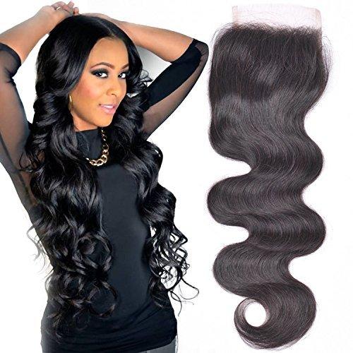"Lace Closure Brazilian Human Hair Body Wave 8"" Free Part  wi"