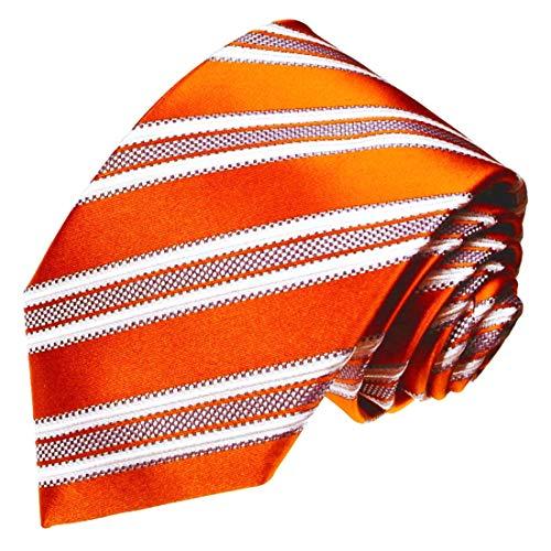 - LORENZO CANA - Italian Silk Tie Orange White Orange Stripes Necktie - 77008