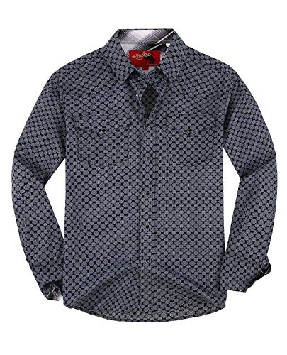 Rodeo Clothing Mens Casual Button Down Shirts Regular Fit Printed Western Shirt Blue164 M