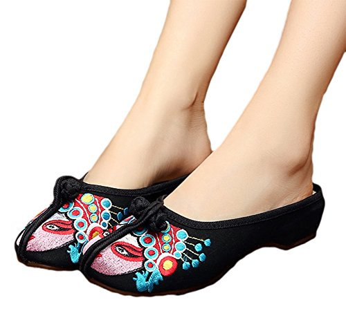 Black Embroidery Slippers Old Womens Chinese AvaCostume Beijing Opera 6gHn0