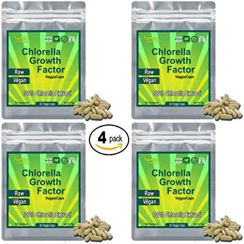 CHLORELLA Extract Growth Factor 100x Concentrate – 100 LB of Chlorella 1 LB of Chlorella Extract CGF Powder. Only Take One a Day Raw Vegan Organic Non-GMO Chlorophyl Greens in VegiCaps 4 Pack