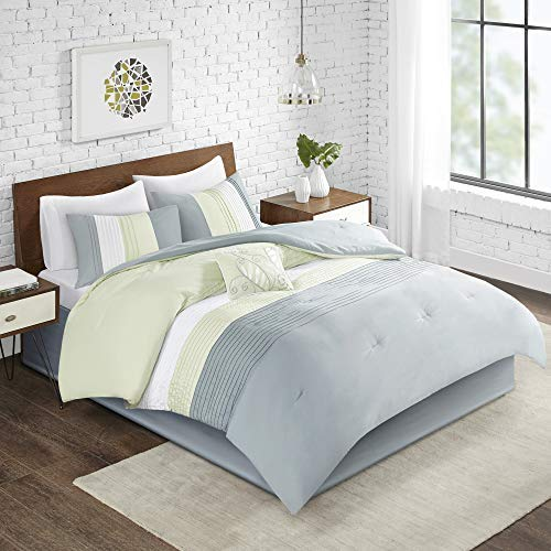 Comfort Spaces Windsor 5 Piece King Size Comforter Pintuck Pleated Striped Pattern Ruffled Patchwork Down Alternative Bedding Sets, Light Green/Off White