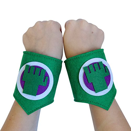 Girl Incredible Hulk Costume (So Sydney Superhero or Princess WRIST BANDS Kids Childrens Toddler, Boy, Girl (Incredible Hulk - Green &)