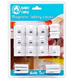 Baby Safety Magnetic Cabinet Locks – Set of 10 Child Drawer Locks & 2 Keys – Hidden Cupboard Lock to Safeguard Babies & Toddlers – Essential Baby Proofing – Easily Installs with 3M Self Adhesive