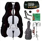 Merano 4/4 Full Size White Cello with Hard Case, Bag and Bow+2 Sets of Strings+Cello Stand+Black Music Stand+Metro Tuner+Mute+Rosin