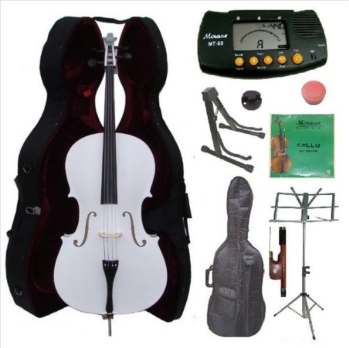 Merano 4/4 Full Size White Cello with Hard Case, Bag and Bow+2 Sets of Strings+Cello Stand+Black Music Stand+Metro Tuner+Mute+Rosin by Merano