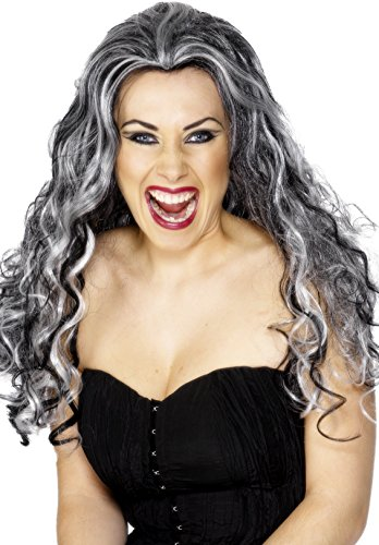 Black King Wig - Smiffy's Women's Long and Curly with Black and Grey Streaks, One Size, Renaissance Vamp Wig, 5020570292433