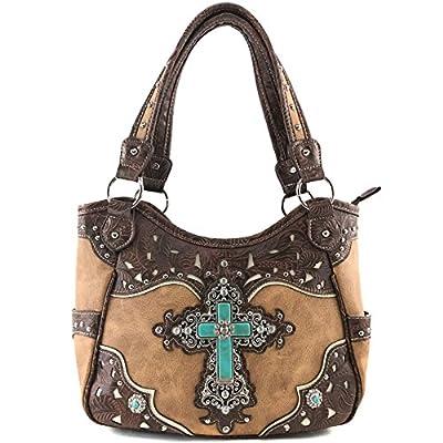 Justin West Tooled Leather Laser Cut Turquoise Rhinestone Cross Concho Studded Shoulder Tote Handbag Purse