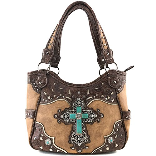 Justin West Western Rhinestone Cross Tote Purse Embroidery Floral Design Leather Concealed Carry Handbag (Tan)
