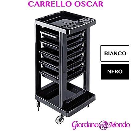 Carro para peluquería y barbería Almacenamiento Puerta secador Tijeras Peine Tinte Pelo Oscar Blanco o Negro