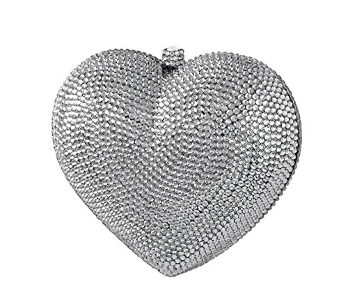 3D Heart Shaped Crystal Bridal Clutch Pave Special Occasion Evening Bag & Compact Mirror Silver by Celebrating You Shop