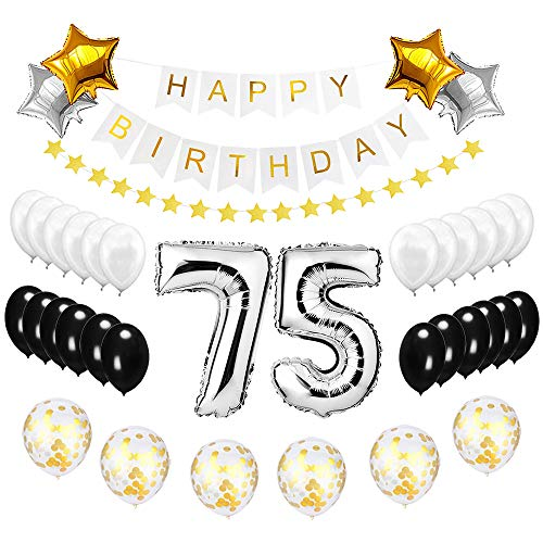 Best Happy to 75th Birthday Balloons Set - High Quality Birthday Theme Decorations for 75 Years Old Party Supplies Silver Black Gold -