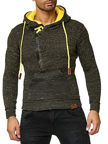Pull 4xl Rn 13277 en tricot anthracitejaune à capuche jusqu'à Cardigan zippé GrS à Baxboy capuche pour hommes uT3lJcFK1