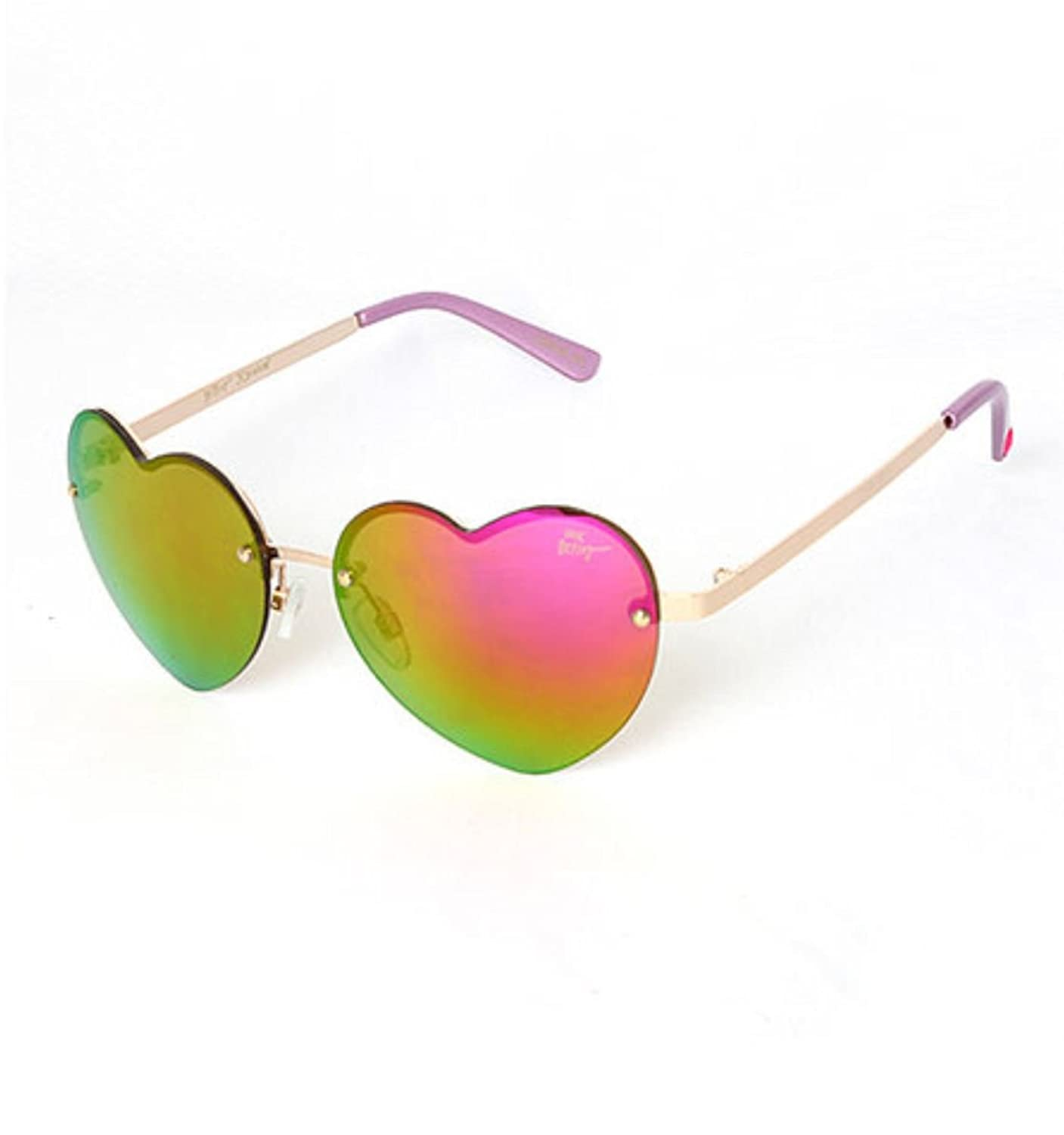 Betsey Johnson Pink and Gold Rimless Mirrored Heart Sunglasses