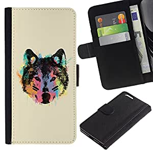 KingStore / Leather Etui en cuir / Apple Iphone 6 PLUS 5.5 / Cara de neón del lobo