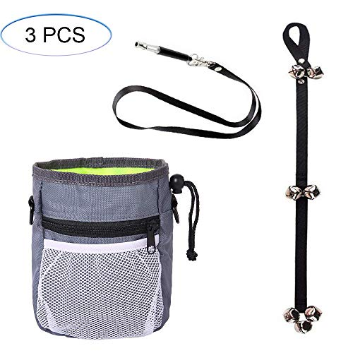 HORHIN 3PCS Dog Training Assortments Interactive Kits Retail Package, Dog Pouch Feed Treat Bag+Dog Doorbell+Dog Whistles…