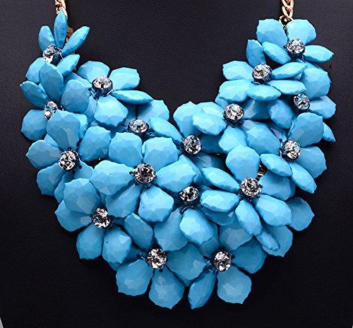 Girl Era Evening Party Chain Luxury Ossicular Flowers Diamond Bib Temperament Necklace Clothing Accessories Womens(b)