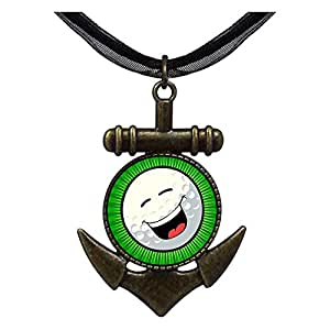 Chicforest Bronze Retro Style Laughing Face Anchor Pendant