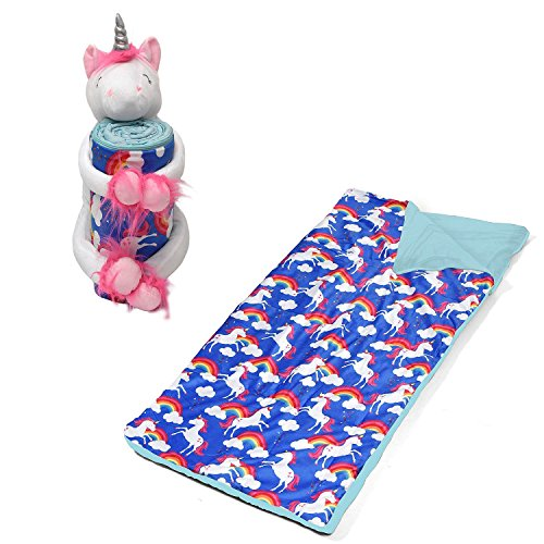 American kids Huggable Slumber Animal Character White Unicorn Blue Blanket toy by American Kids