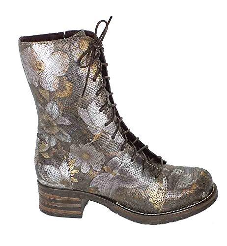 Brako Stiefel Boots grau-braun Blumen 8470 giove gris military
