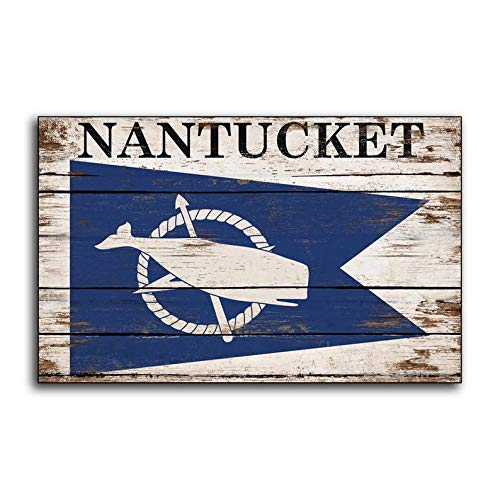 CELYCASY Nantucket Flag Sign Whale Whaling Cape Cod Massachusetts Moby Dick White Whale Flags Wood Wooden Sign Decor Sign Wall - Whales Cape Cod