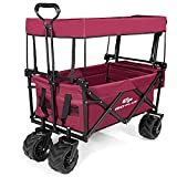 COSTWAY Collapsible Folding Wagon Cart with Sun/Rain Shade, Adjustable Extendable Push & Pull Handle, Removable Canvas & Canopy, Large Capacity Trolley for Shopping, Beach, Lawn, Sports (Red)