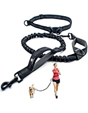 Hands Free Dog Leash for Running, Walking, Hiking, Jogging,Training for Medium and Large Dogs up to 150 lbs, Durable Dual Handle Waist Leash with Reflective Bungee and Adjustable Waist Belt (Black with Grey)