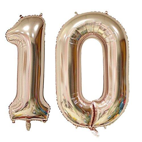Tellpet Rose Gold Number 10 Balloon, 40'' - 10 Balloons