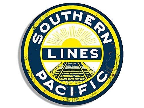 Vintage Flag Round Sticker - GHaynes Distributing Round Vintage SOUTHERN LINES PACIFIC Railroad Sticker Decal (rail rr railway train) 4 x 4 inch
