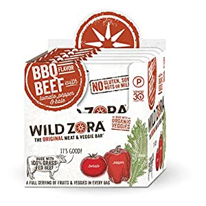 BBQ Beef - Meat and Veggie Bar (10-pack) are made with grass-fed beef and organic vegetables. Our paleo beef snacks are gluten-free and Whole30 Approved. This is beef jerky kicked up to a new level.