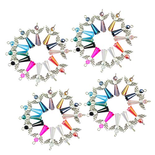 SM SunniMix 48 Pieces Mix Angel Wings Charms Pendants Faceted Glass Beads for Jewelry Making Crafting