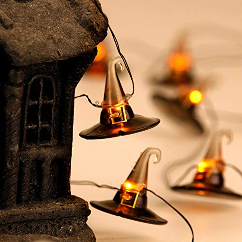 Explanation Of Halloween (Halloween Festive Lights for Decorations Idea, Witch Hat Themed String Lights 10 ft, 20 LEDs Multi Flicker Modes with Battery/USB Cord Powered for Cosplay, Wedding, Birthday Pary, Bedroom, Living)