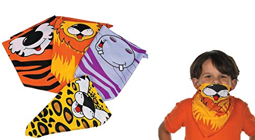 Zoo Animal Bandanas - 12 assorted pcs (Animal Print Bandanas)