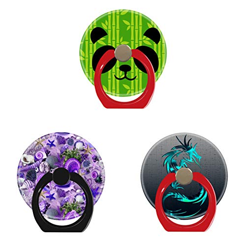 Bsxeos 360°Rotation Cell Phone Ring Holder with Car Mount Work for All Smartphones and Tablets-Fancy Purple Seashells-Green Tribal Dragon-Panda Bamboo(3 Pack)
