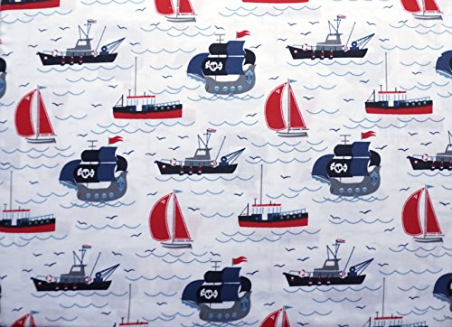 Authentic Kids 3 Piece Twin Sheet Set Red Blue Gray Black Pirate Ships Tug Boats Sail Boats Ocean (Twin Tug)
