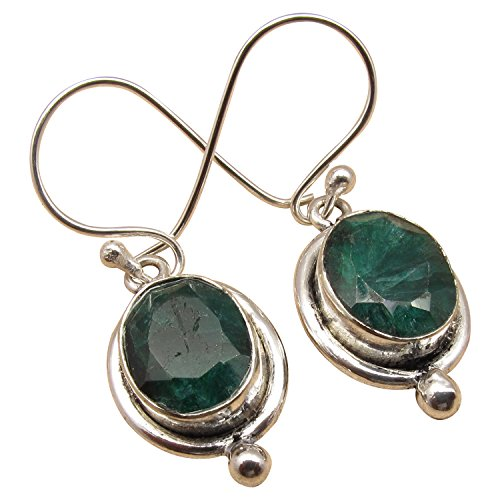 (May Birthstone Natural EMERALD Gemstone Earrings ! 925 Sterling Silver Plated Indian Jewelry LOVELY)