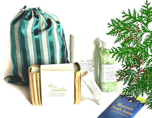 "Mountain Fresh Soaps""Classic"" GIFT SET ~ Artisan, Organic, All-Natural Soap, Lotion, Lip Balm, Bath Salt (Fir Needle)"