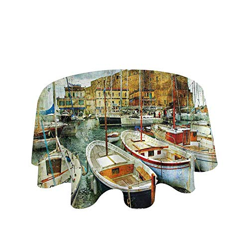 Curioly Marine Washable Tablecloth Naples Small Boats at Historical Italian Coast with Heritage Castle Nautical Artwork Dinner Picnic Home Decor D55 Inch Multicolor