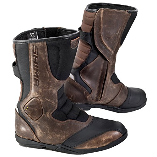 (SHIMA STRADA VINTAGE, Classic Retro Sport Leather Motorcycle Boots (43, Brown))