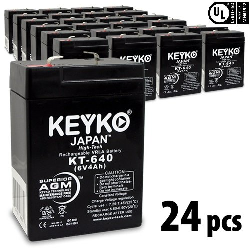 KEYKO Genuine KT-640 6V 4Ah Battery SLA Sealed Lead Acid / AGM Replacement - F1 Terminal - 24 Pack by KEYKO