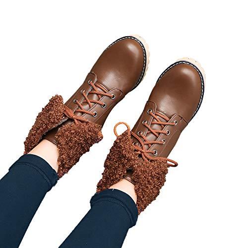 Rangers Hiver À Boots Talons Fourrées Manadlian Fourrure Haute Femme Chaud Bottes 3cm Simili Revers Chaussures Cuir En Marron Bottines Imperméables W8dxqtpqw1