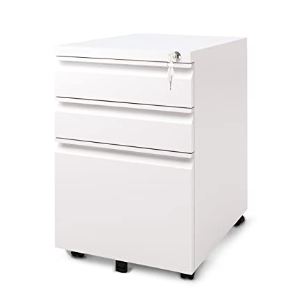 DEVAISE 3 Drawer Mobile Metal File Cabinet With Lock (New Style   White)