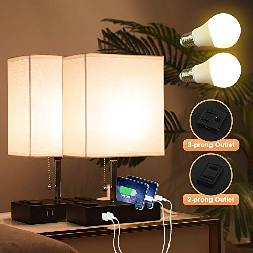 Lifeholder Bedside Lamps with 2 Phone Stands, Table Lamp Include 2 Warm LED Bulbs, Nightstand Lamp Built in 2 USB Ports…