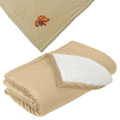 Cherrybrook Dog Breed Embroidered Mountain Lodge Reversible Blanket - Tan - Irish Setter