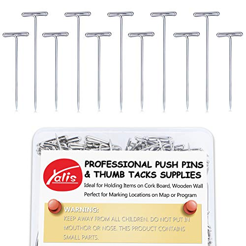 Yalis Steel T-pins 150 Pieces, 2 Inch and 1-1/2 Inch for Knitting, Modelling and Crafts ()
