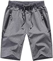 Kihatwin Big Boys' Pull-On Knit Shorts Casual Jogger Summer Cotton Elastic Waist Shorts with Zipper Poc