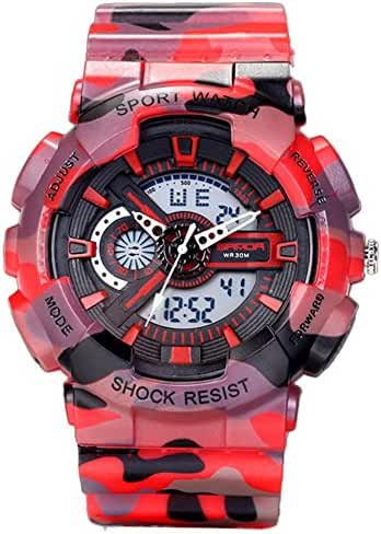 Young Adults Boys Girls Ourdoor Sport Military 50M Waterproof Watches Shock Resist For Hiking Red+Black