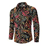 iHHAPY Mens Casual Shirts Ethnic Printing Tops 2019 Autumn Fashion Shirts Beach Shirts Long-Sleeve Tops Button Blouse