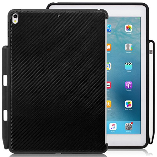 KHOMO - Compatible with Apple iPad Pro 10.5 inch Black Carbon Fiber Case with Pen Holder - Companion Cover - Perfect Match for Apple Smart Keyboard and ()
