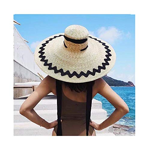 MEANIT Womens Sun Straw Hat Oversized Wide Brim Summer Hat Foldable Roll up Floppy Beach Hats Cap Packable for Travel (J) -